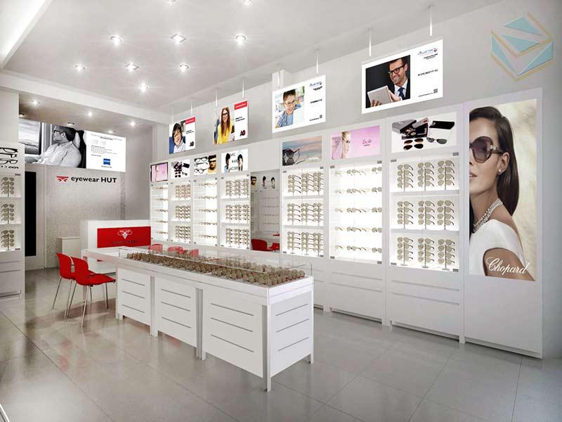 thiết kế cửa hàng trưng bày mắt kính