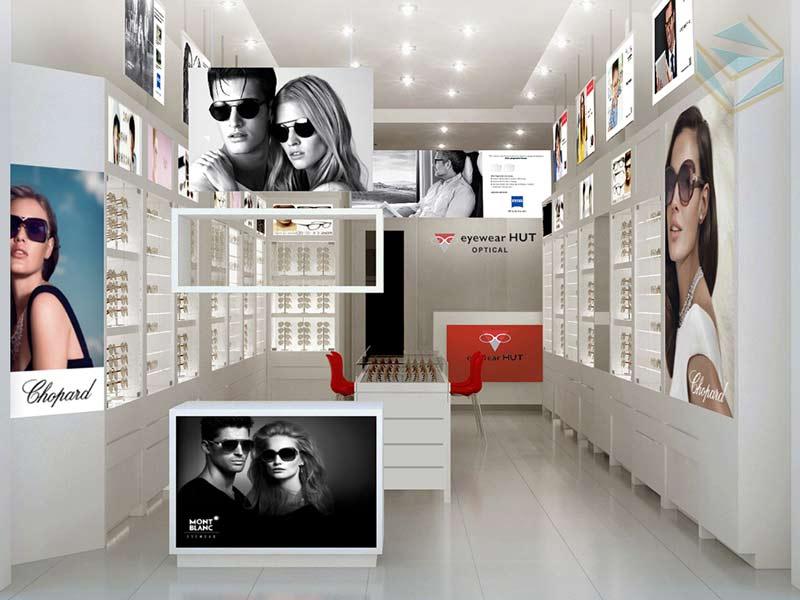 thiết kế tủ trưng bày mắt kính