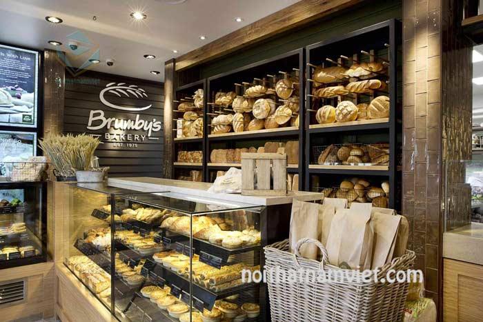 Thiết kế cửa hàng bánh ngọt bánh mì nhỏ đẹp sang trọng
