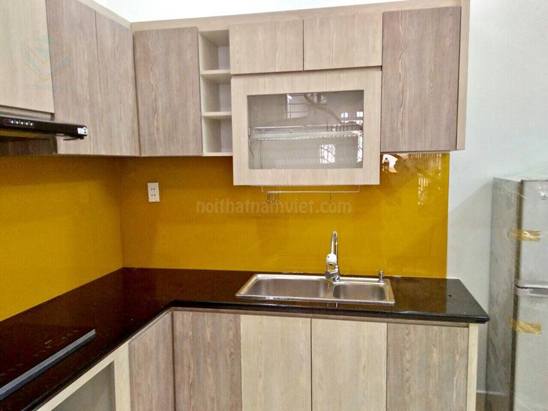 Thiết kế tủ bếp gỗ MDF chữ L