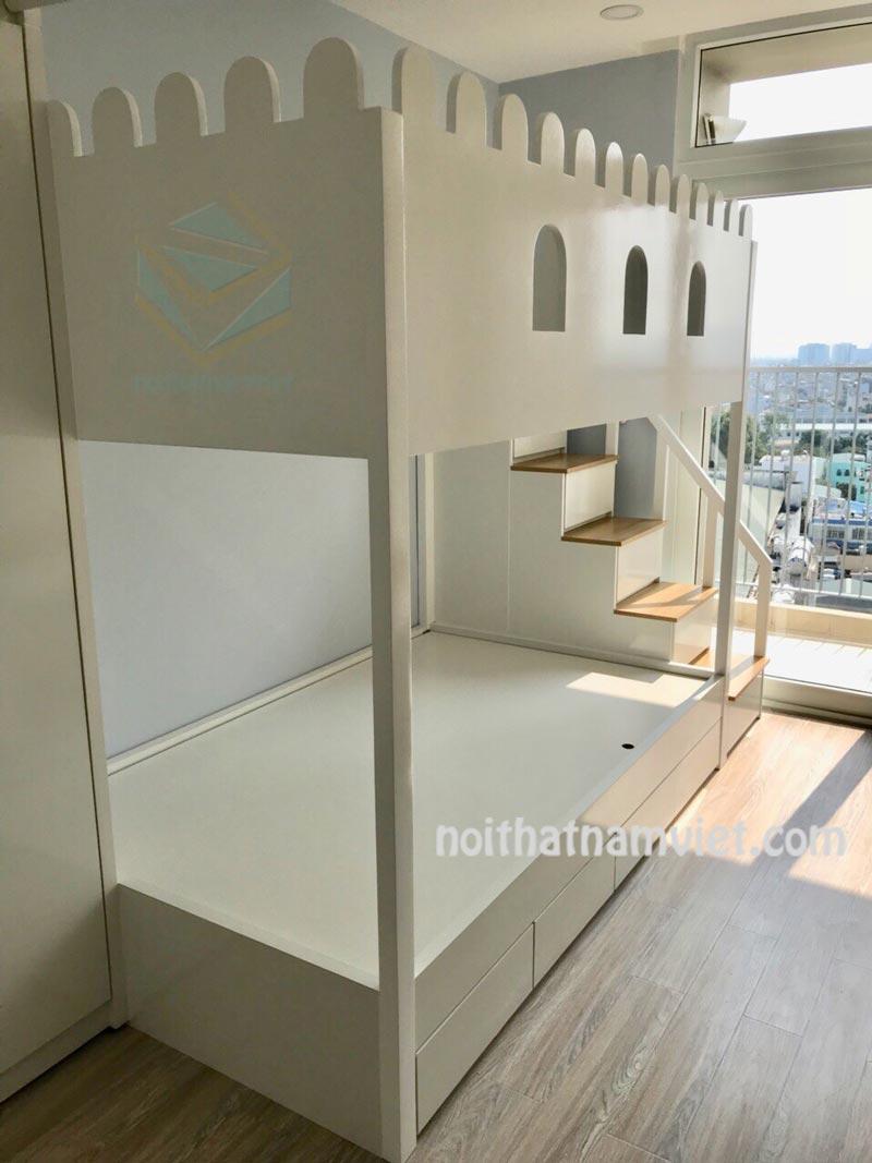 Thi công nội thất căn hộ chung cư 60m2 với giường tầng đẹp