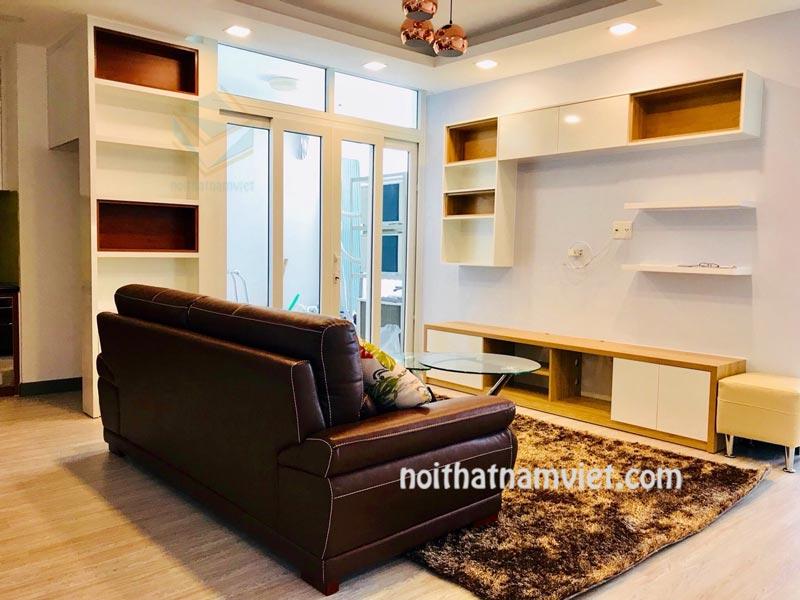 Thi công nội thất phòng khách căn hộ chung cư 60m2