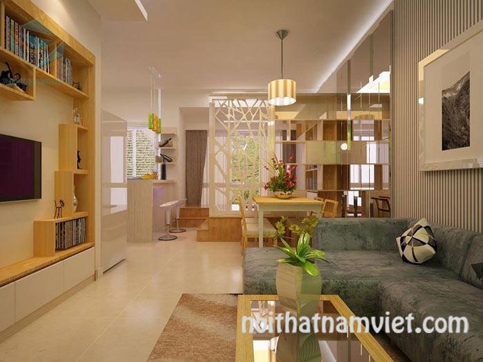 thiết kế phòng khách liền kề bếp