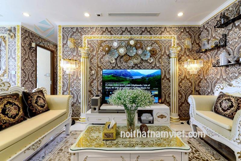 Thi công nội thất căn hộ cao cấp gỗ tự nhiên
