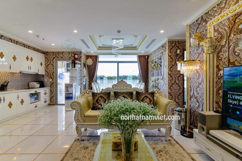 nội thất căn hộ cao cấp gỗ tự nhiên