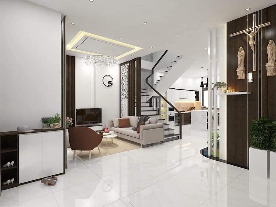 Phòng khách nhà ống đẹp hiện đại 3 tầng