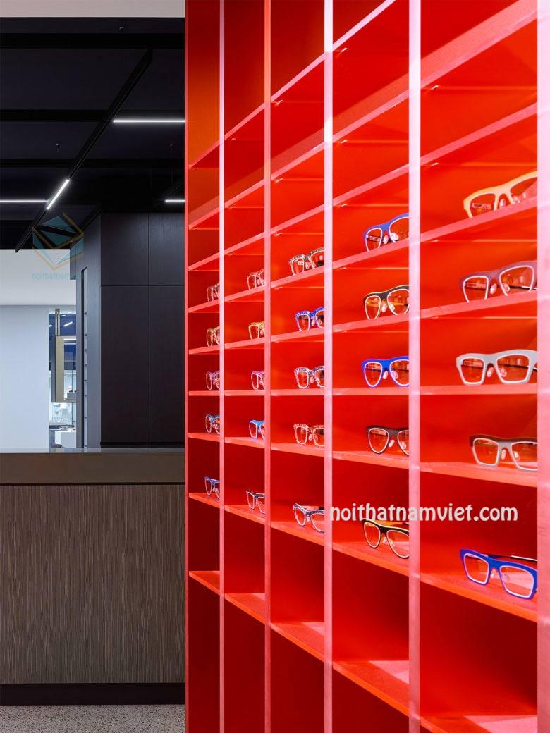 Mẫu thiết kế thi công shop tủ kệ trưng bày mắt kính