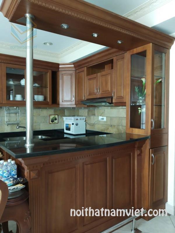 Thiết kế thi công tủ bếp gỗ tự nhiên xoan đào