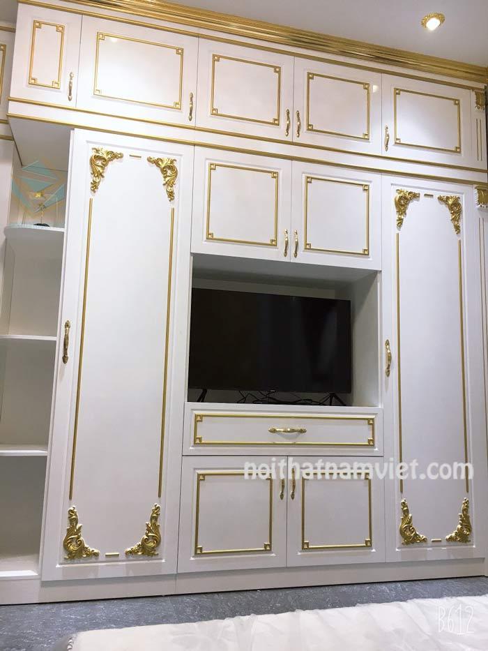 Tủ quần áo gỗ Acrylic màu trắng