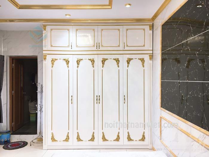 Tủ quần áo gỗ Acrylic màu trắng dát chỉ vàng