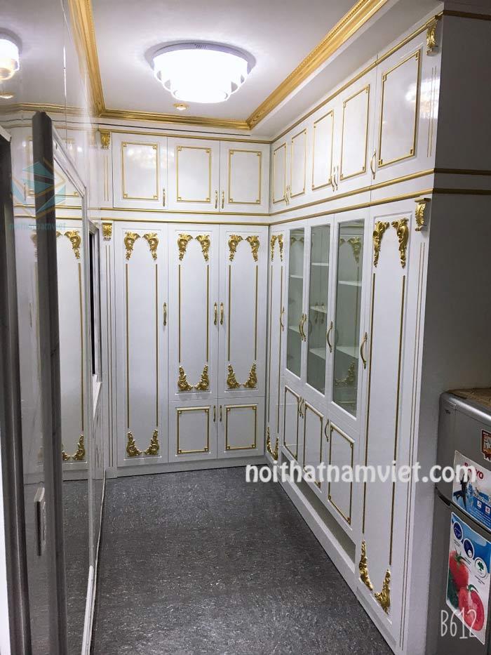 Tủ quần áo âm tường gỗ Acrylic