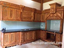 Tủ bếp gỗ gõ đỏ chữ L