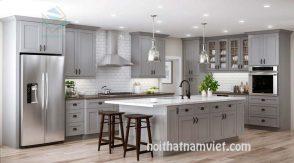 Tủ bếp gỗ sồi màu xám
