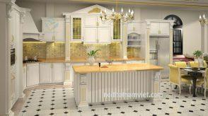 Tủ bếp gỗ sồi chữ L