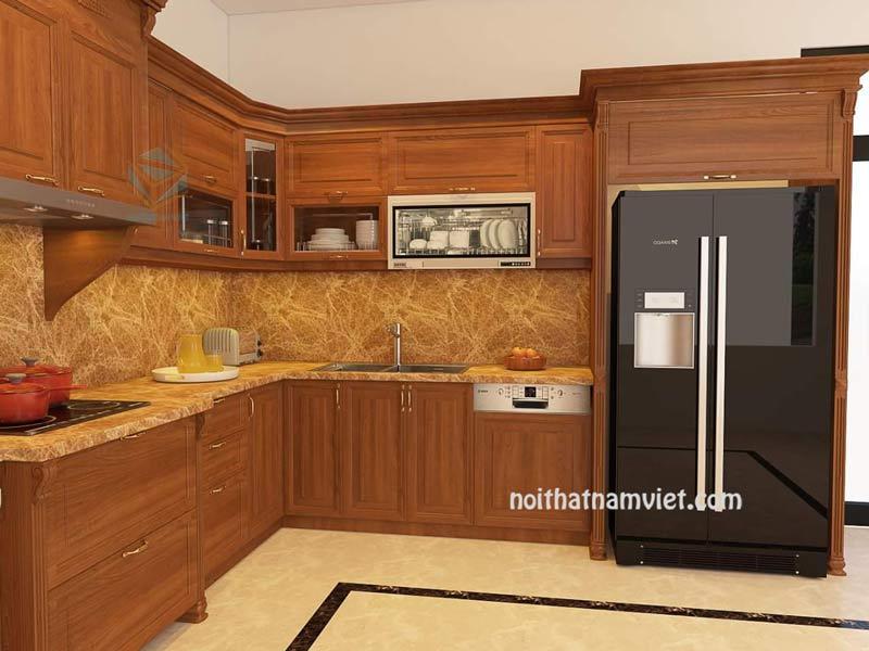 Mẫu tủ bếp gỗ gõ đỏ màu vân gỗ
