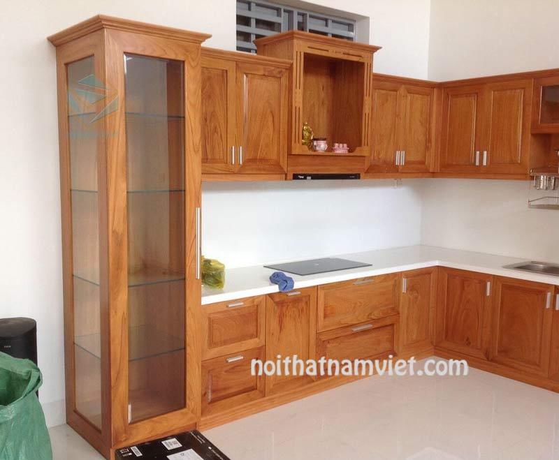 Tủ bếp gỗ gõ đỏ tự nhiên chữ L