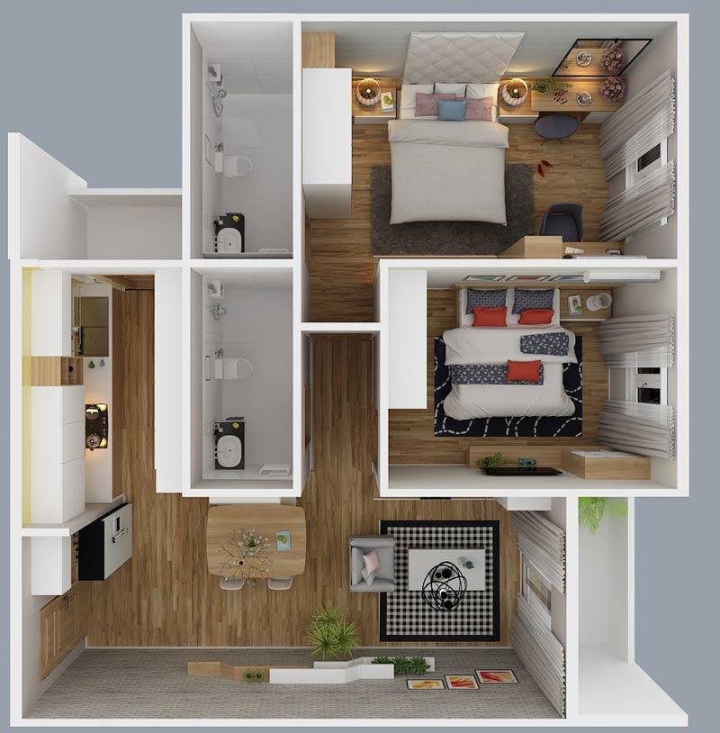 Thiết kế thi công nội thất căn hộ diamond